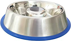 Mr. Peanut's Stainless Steel Interactive Slow Feed Dog Bowl with a Newly Improved Bonded Silicone Base, Fun Healthy Bloat Stop Feeder