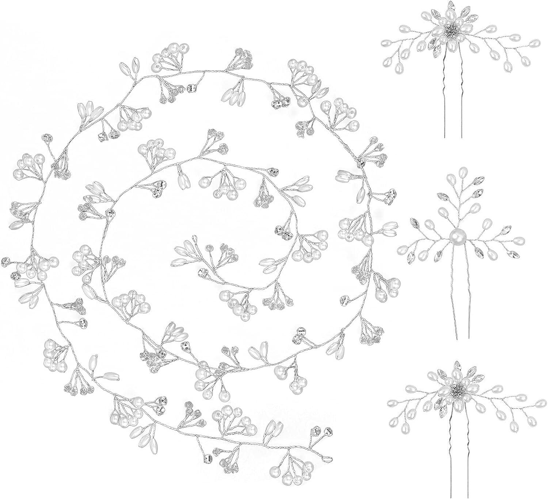BNPCBUK Juego de 4pcs Tocados de Novia Peinetas de Pelo 100cm Diadema de Perlas para Novia y Dama de Honor, Fiestas Veladao Eventos Casuales