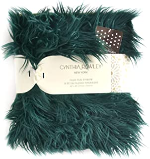 Cynthia Rowley Lush Plush Mongolian Lamb Wool Faux Fur Throw Blanket Fuzzy Fake Fur (Botanical Green)
