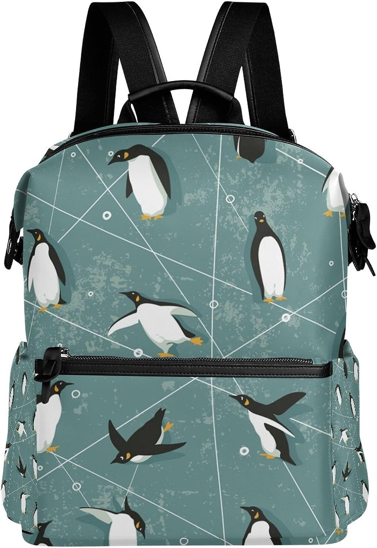 DEYYA Penguin School Backpack Functional Travel Backpacks