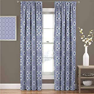 GUUVOR Moroccan 99% Blackout Curtains Portuguese Tiles Squares Grid Style Pattern Oriental Motif Arabesque for Bedroom Kindergarten Living Room Curtain 52