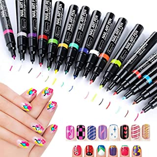 StillCool Nail Art Pens, 16 Colors Set Nail Art Pen for 3D Nail Art DIY Decoration Nail Polish Pen Set 3D Design Nail Beauty Tools Paint Pens Set (6 Random Colors)