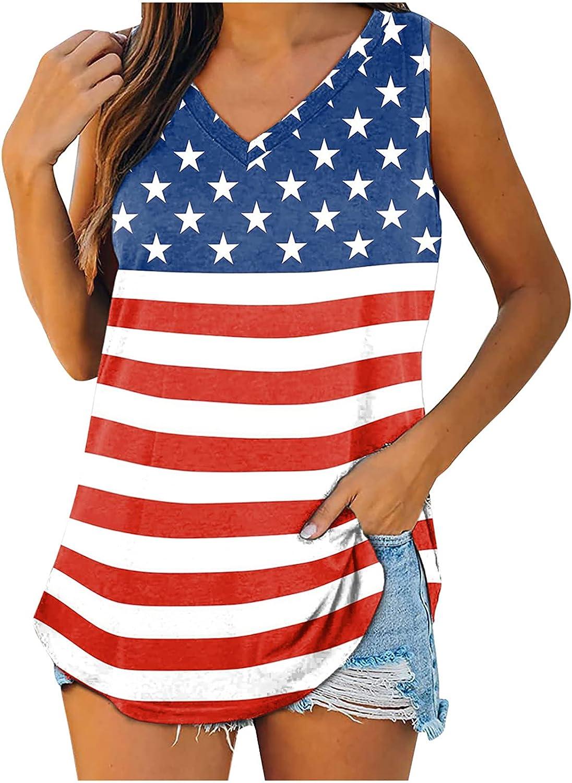 MIVAMIYA Fourth of July Shirts Women American Flag Tank Tops Sleeveless V Neck Tees Summer Loose Fit Camisole Vest