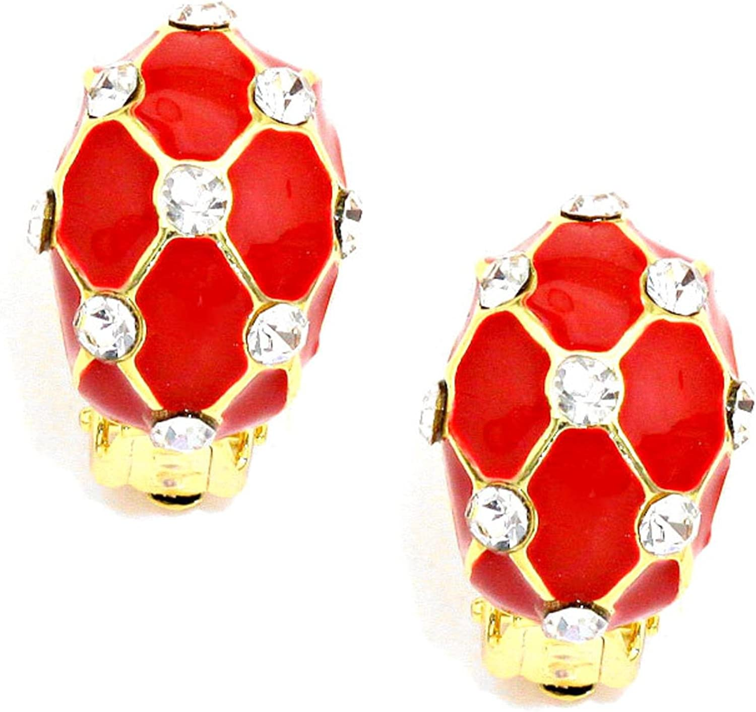 Oval Dome Honeycomb Clip on Earrings For Women / AZERCO828-GRC