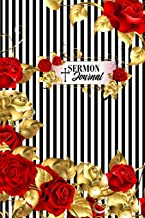 Sermon Journal: Christian Prayer Notebook Bible Sermon Notes Journaling: Black & White Pinstripe Flower Design by Slayed Life Boutique