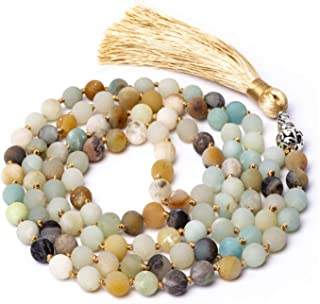 Mala Beads 108 8mm Mala Necklace Yoga Meditation Prayer Beads Hand Knotted Natural Stone Necklace Japa Mala Tassel Necklace