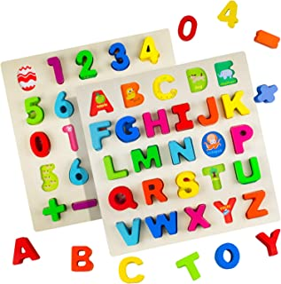 Timy Wooden Alphabet Puzzle and Number Puzzle Set for Toddlers, ABC Puzzle Board for Kids