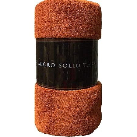 "Goldenlinens Ultra Soft Cozy Plush Fleece Warm Solid Colors Traveling Throw Blanket 50"" X 60"" (127 cm X 152 cm) (Rust)"