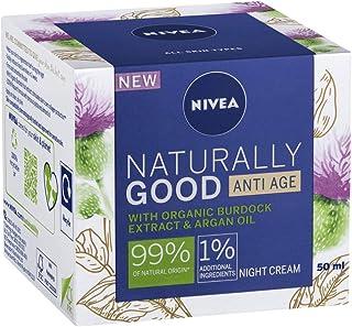 NIVEA Naturally Good Anti Age Night Cream Face Moisturiser with Organic Burdock Extract & Argan Oil, 50ml, 50 ml