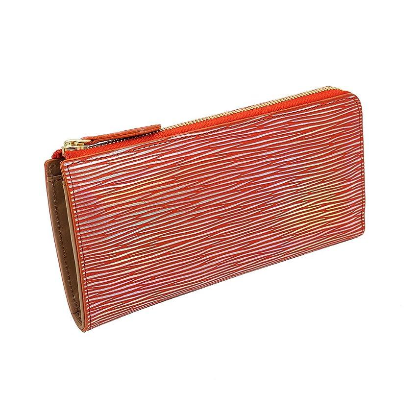 ホールドオール学ぶ拒否[RIA CREATION] 虹色 に輝く 革 光る アルゼンチンキップ L字ファスナー 長財布 (オレンジ)