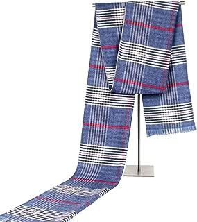 Scarf Imitation Cashmere Unisex Classical Leisure Business Stripe Cold Warm Men` TuanTuan (Color : Blue)