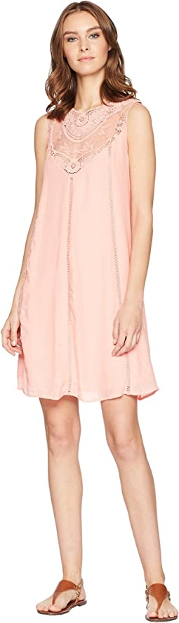 Sleeveless Swing Dress with Lace Center