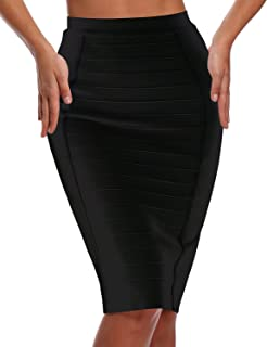 Women's Stripe Wear to Work Bandage Bodycon Midi Skirts H1863