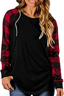 Womens Buffalo Plaid Shirts Round Neck Raglan Pullover Casual Long Sleeve Tops