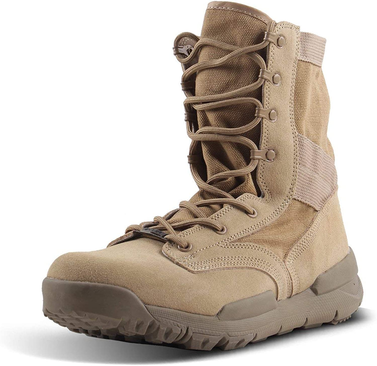 Soulsfeng Mens Lightweight Breathable Combat Boot High Top Canvas Trekking Shoes with Arch Support & Rubber Sole Coyote Brown