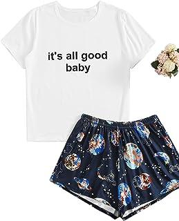SheIn Women's Summer Pajama Set Graphic Shirt and Shorts 2 Piece Nightwear Sleepwear