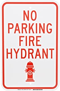 "Brady 124333 Traffic Control Sign, Legend""No Parking Fire Hydrant"", 18"" Height, 12"" Width, Red on White"