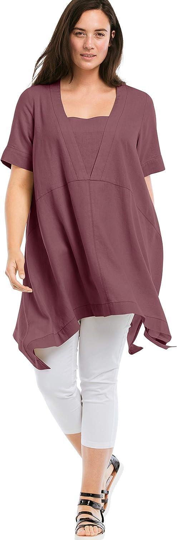 ellos Super-cheap Women's Choice Plus Size Hanky Hem Linen-Blend Tunic