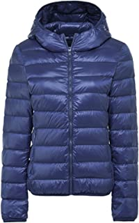 Women's Hooded Packable Short Quilted Lightweight Down Puffer Jacket Coat Down Parka Jacket Navy X-Small