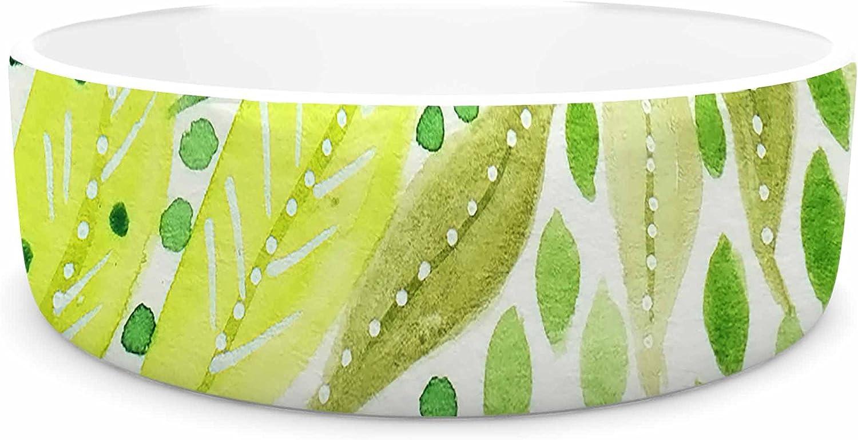 KESS InHouse Li Zamperini Green Green Olive Watercolor Pet Bowl, 7  Diameter