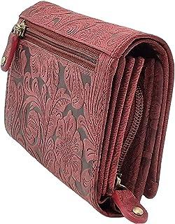 Monedero para mujer de piel de búfalo, compacto con muchos compartimentos especiales para tarjetas de crédito, color vino ...