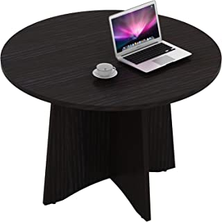 Sunon 47.2'' Laminate Round Conference Table Dining Table with X-Shaped Wood Base (Dark Oak)
