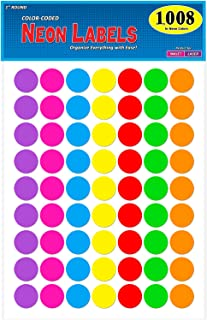 Pack of 1008 1-inch Diameter Round Color Coding Dot Labels, 7 Bright Neon Colors, 8 1/2
