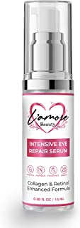 L'amore Beauty Intensive Eye Repair Serum (15 mL) Anti-Aging Collagen Booster with Retinol | Under-Eye Puffy Bags, Dark Spots, Discoloration, Fine Lines, Wrinkles | Cruelty-Free | Made in USA