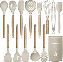 مجموعه ظروف آشپزخانه ظروف سیلیکونی - وسایل آشپزی وسایل آشپزخانه با دستگیره های چوبی شامل قاشق اسپاتولا قوطی مخصوص ترنج برای مقاومت در برابر حرارت غیر سمی مخصوص ظروف آشپزخانه (13 عدد PC)