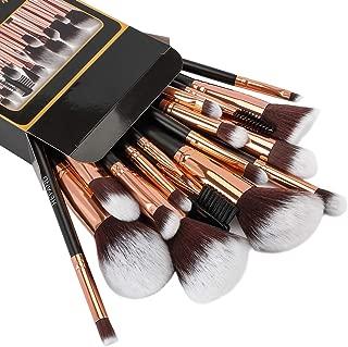 Refand Makeup Brushes, Face Brushes Cosmetics Foundation Powder Concealers Blending Eye Shadows Make Brushes Kit 18 Pcs Rose Gold Black