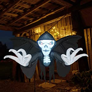 GOOSH 5.2 FT Long Halloween Inflatables Outdoor Hanging Skeleton Ghost with Raising Hands & Wings, Blow Up Yard Decoration Clearance with LED Lights Built-in for Holiday/Christmas/Party/Yard/Garden