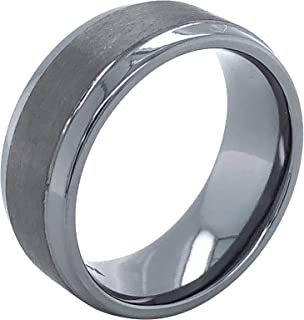 Tantalum 8mm Wide Dual Finish Flat Profile Men's Comfort-Fit Wedding Band Ring with Brushed Matte Center and High-Polish E...