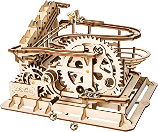 DIY 3D Wooden Puzzle Laser-Cut Mechanical Marble Squad/Marble Run Puzzle Model Kit, Premium Quality Wood, Non-Toxic and Safe. STEM Project Educational Marble Run Model Kit (Waterwheel Coaster)