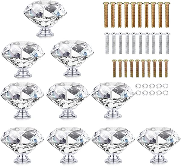 HOMEIDEAS 10PCS 40MM Crystal Drawer Knobs Glass Cabinet Knobs Diamond Shaped Drawer Pulls Handle For Home Cabinet Cupboard And Dresser 3 Size Screws