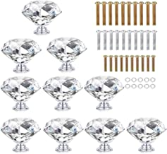 HOMEIDEAS 10PCS 40MM Crystal Drawer Knobs Glass Cabinet Knobs Diamond Shaped Drawer Pulls Handle for Home, Cabinet, Cupboard and Dresser, 3 Size Screws