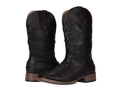 Roper Kennedy (Black Faux Leather/Metallic Underlay) Cowboy Boots