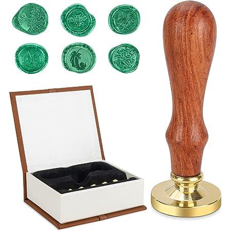 Ensemble de cire Stamp Kit, MOPOIN Sceau Cire Kit Sceaux pour Cachet Rétro avec 1 poignée en bois et 6 têtes en laiton de tampon de sceau de cire pour enveloppes de cartes, invitations
