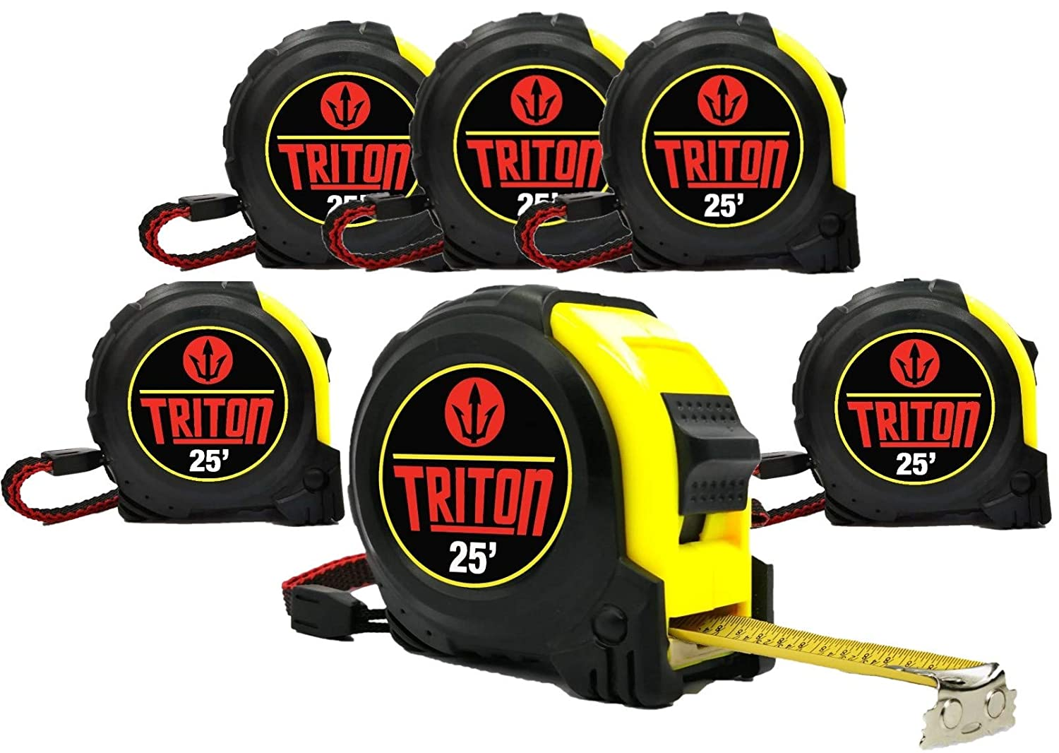 6 Pack - 25 FT - Triton Tape Measure - Magnetic Claw Tip - Easy Read Fractions - -