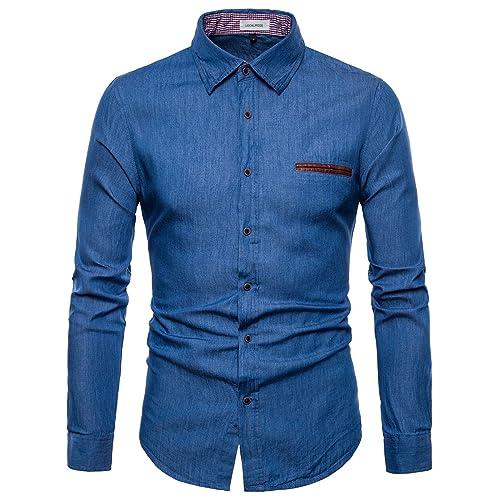 dd1fbae08b LOCALMODE Men s Casual Dress Shirt Button Down Shirts Fashion Denim Shirt