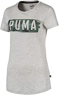 PUMA Women's Fusion Graphic Tee, Light Gray Heather