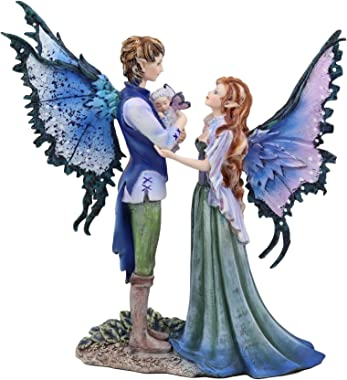 "Ebros Amy Brown Family Love Fairy Mother Father and Baby Child Statue 9.5"" Tall Fantasy Mythical Faery Garden Magic Collectible Figurine Fairies Pixies Nymphs Decor"