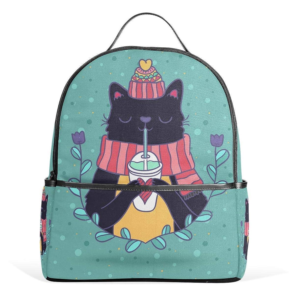 お湿気の多い心臓VAMIX リュックサック バッグ 男女兼用 メンズ レディース 通勤 通学 大容量 プレゼント ギフト 猫柄 可愛い猫 葉模様