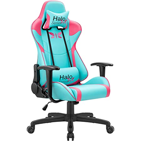 JUMMICO Gaming Chair Adjustable Racing Chair Halo Series Specialty Design Ergonomic Comfortable Swivel Computer Chair with Headrest and Lumbar Support (Blue and Plum red)