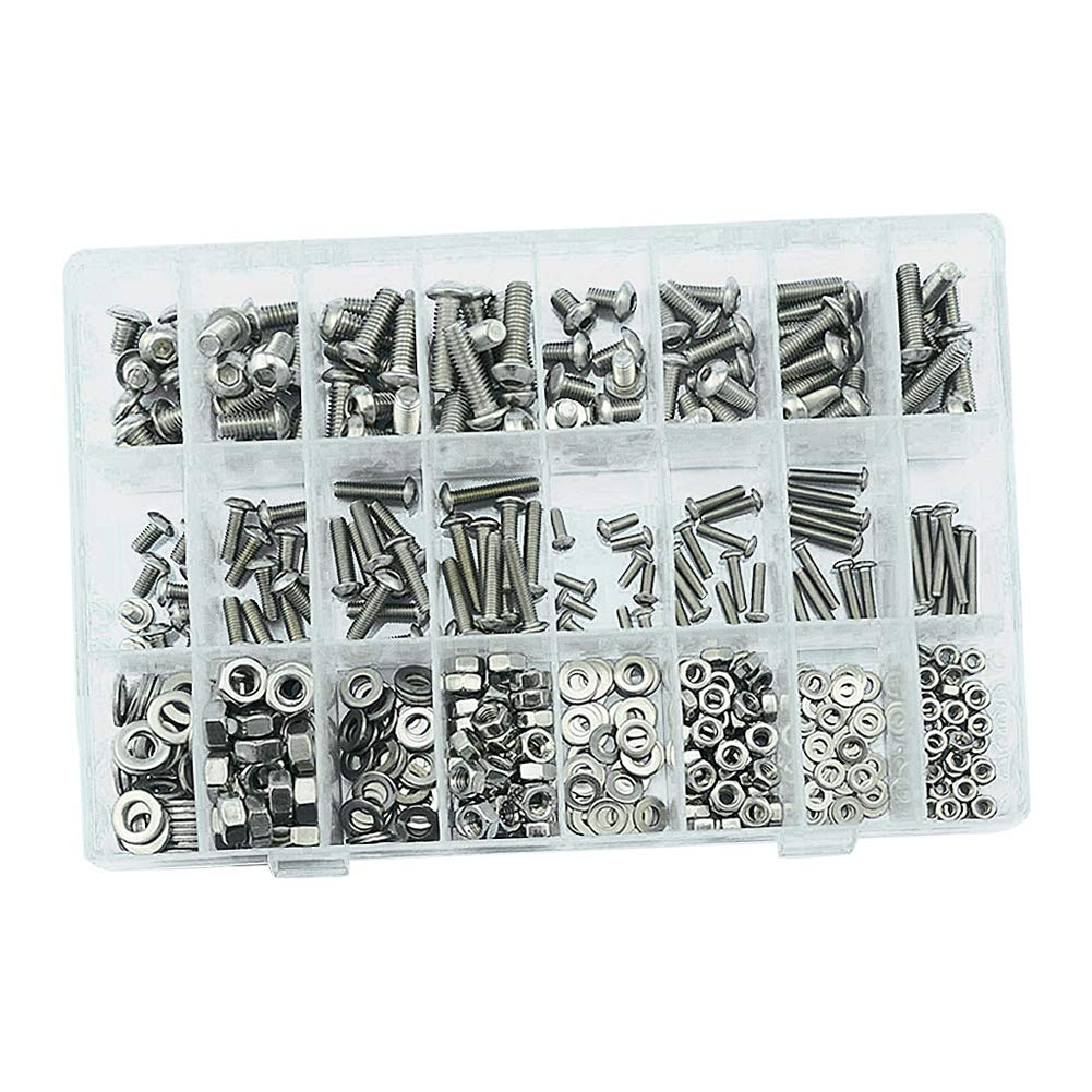 uirend 520Pcs M3 M4 M5 M6 Machine Screws Nuts Assortment Kit Stainless Steel Hex Socket Cap Screws Bolts Nuts Flat Washers Set