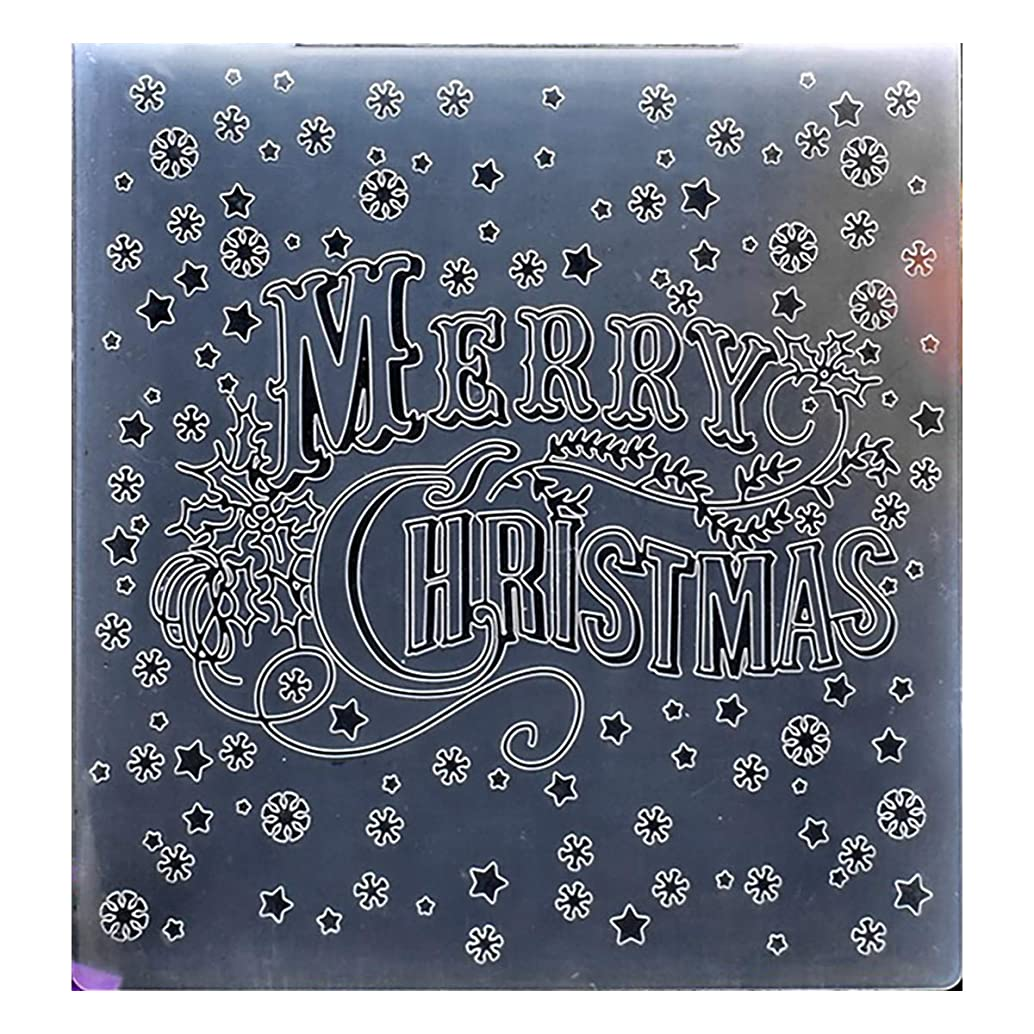 Kwan Crafts Merry Christmas Snowflake Star Plastic Embossing Folders for Card Making Scrapbooking and Other Paper Crafts, 15x15cm