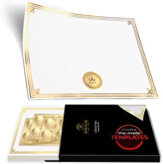 100 Professional Award Certificate Paper 8.5 x 11 with Seals, Gold Foil Border, Blank. Laser, Inkjet Printable