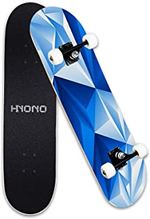 """ScientoySkateboard, Beginner Skateboards, 31""""x 8"""" Complete Pro Skateboard with A Repair Kit for Kids/Boys/Girls/Youth/Adults, 9 Layer Canadian Maple Double Kick Skateboard for Outdoor Sports"""