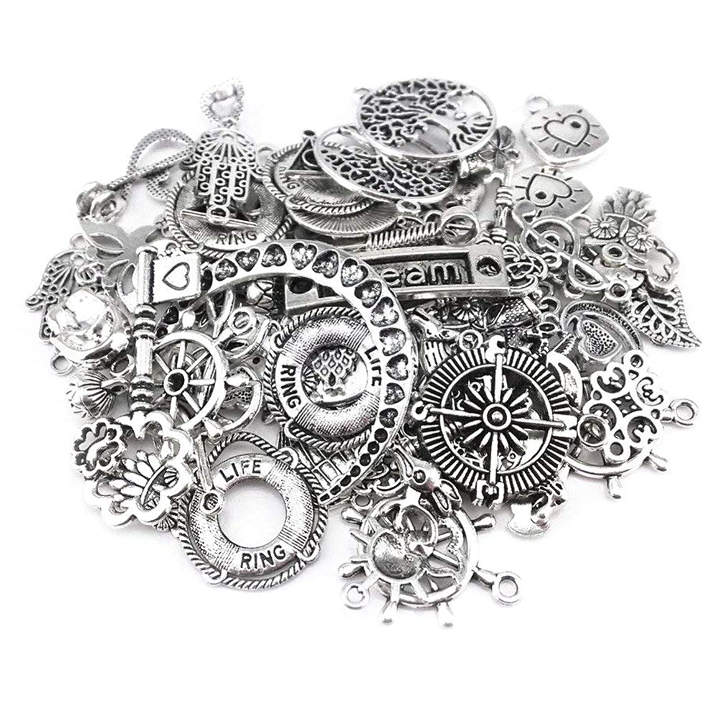 Yueton 100 Gram (Approx 80pcs) Assorted DIY Antique Charms Pendant for Crafting, Jewelry Making Accessory (Silver)