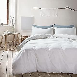 ATsense Duvet Cover King, 100% Washed Cotton, 3-Piece Bedding Duvet Cover Set, Simple Style Farmhouse Bedding Set (Ivory White, 7006-04)