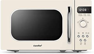 COMFEE' AM720C2RA-A Retro Style Countertop Microwave Oven with 9 Auto Menus Position-Memory Turntable, Eco Mode, and Sound On/Off (Cream), 0.7Cu.Ft